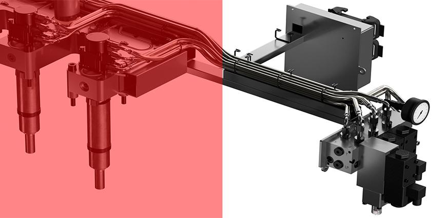Sistemas de canal caliente de Oerlikon HRSflow. Un innovador regulador de recorrido mecánico para sistemas de válvulas de compuertas hidráulicas que evita los defectos de la superficie
